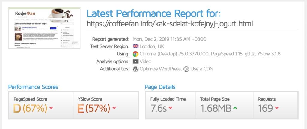 отчет тестирования скорости загрузки сайта coffeefan.info от gtmetrix