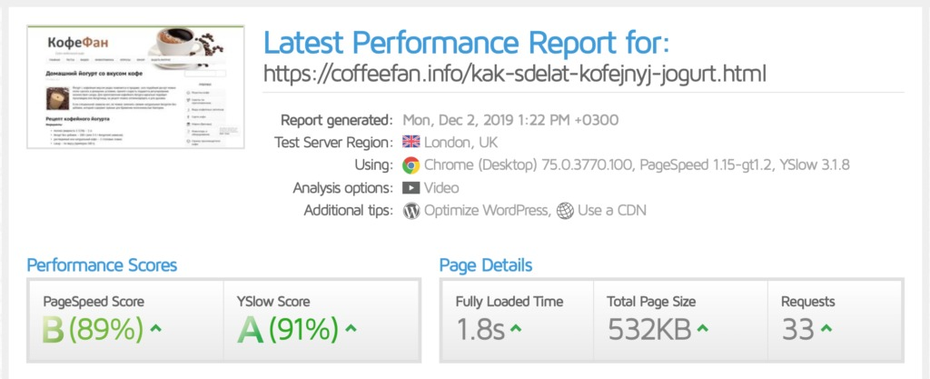 отчет тестирования скорости загрузки сайта coffeefan.info от gtmetrix после ускорения
