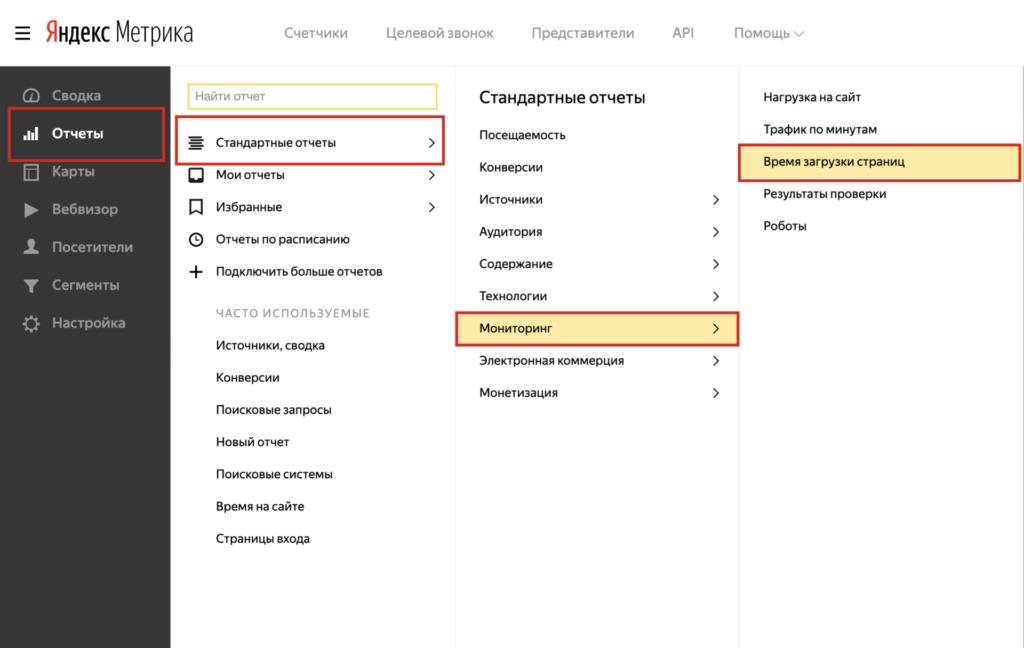 реальные данные от посетителей про ответ сервера из Яндекс.Метрики